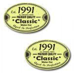 PAIR Distressed Aged Established 1991 Aged To Perfection Oval Design Vinyl Car Sticker 70x45mm Each